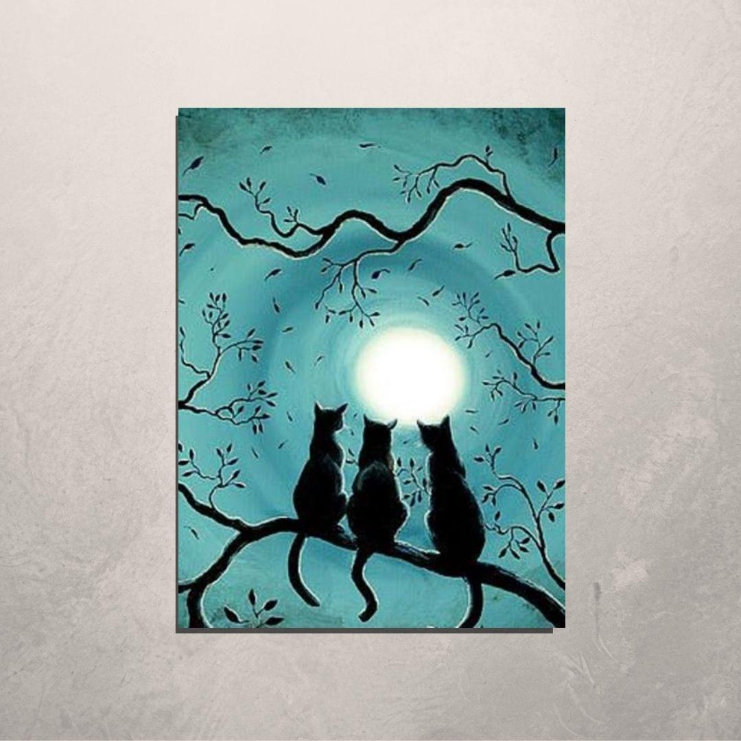 Quadro Decorativo - Gatos na Lua Cheia - 110x70cm.