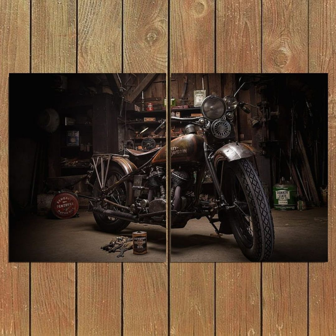 Quadro Decorativo - Harley Davidson - 2 telas - 100x60cm