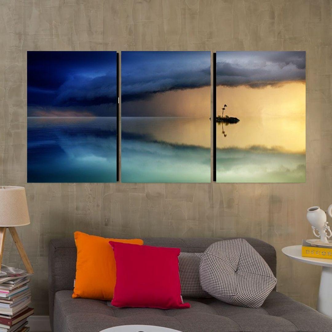 Quadro Decorativo - Horizonte Azul - 3 Telas - 120x60cm