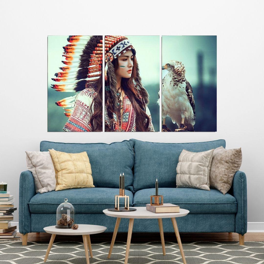 Quadro Decorativo - India Nativa com Falcão - 3 Telas - 120x70