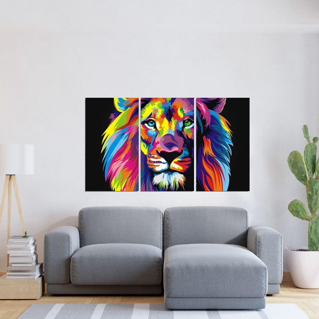 Quadro Decorativo - Leão Abstrato Multicolorido - 120x70