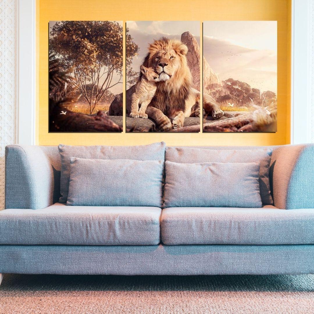 Quadro Decorativo - Leão com Filhote - 3 Telas - 120x60cm