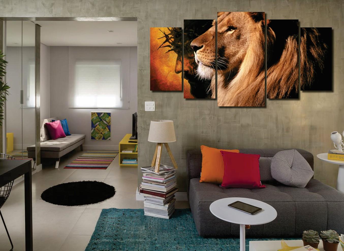 Quadro Decorativo - Leão de Judá - 5 Telas - 110x60