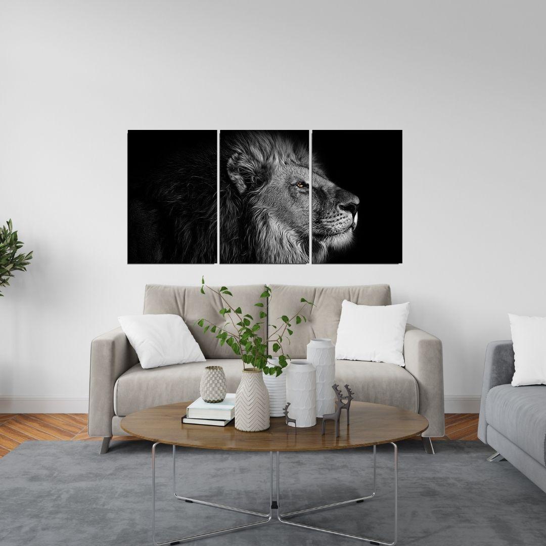 Quadro Decorativo - Leão Preto e Branco - 3 Telas - 120x60cm