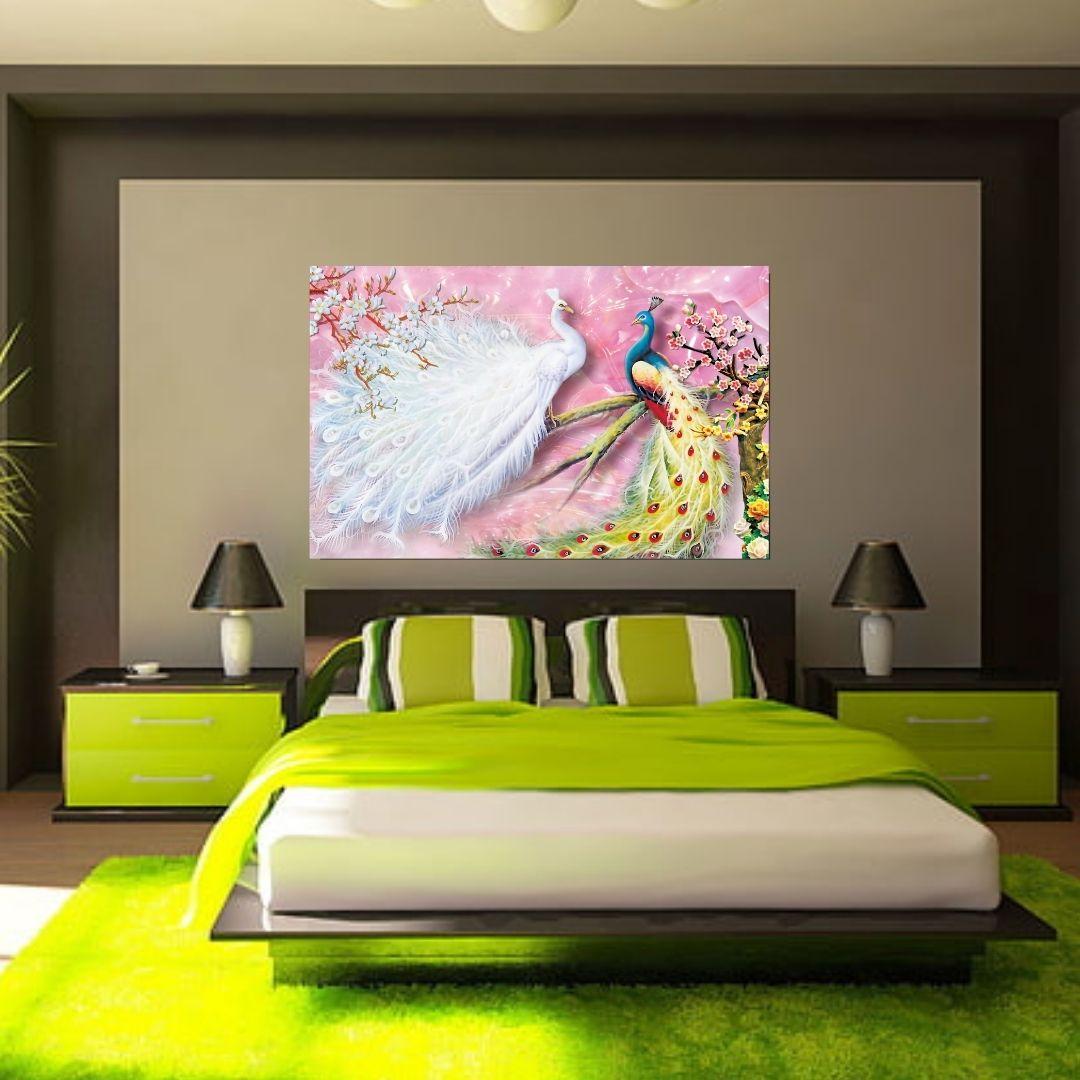 Quadro Decorativo - Luxo - Pavões Coloridos 3D - 110x70cm