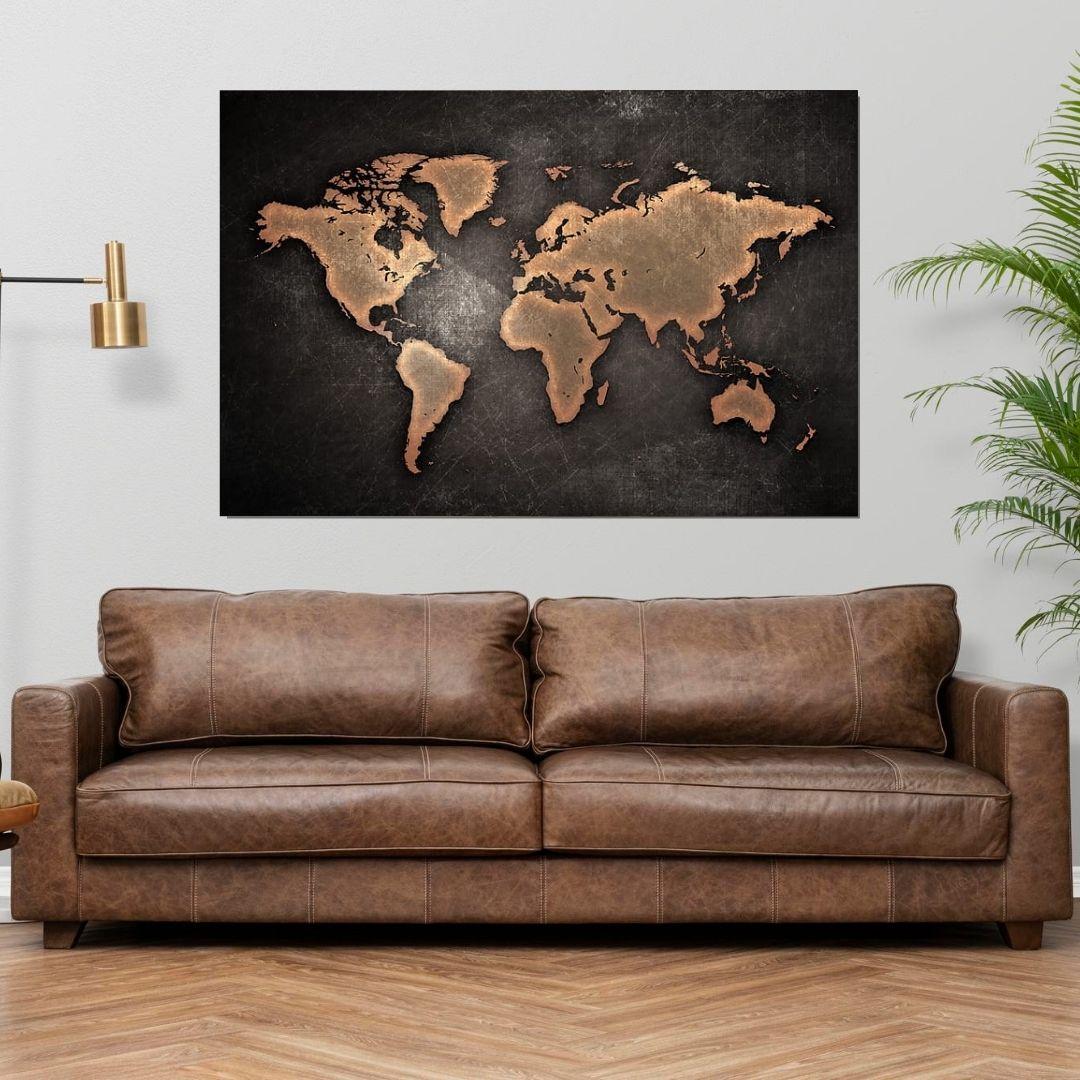 Quadro decorativo - Mapa Mundi - 110x70cm