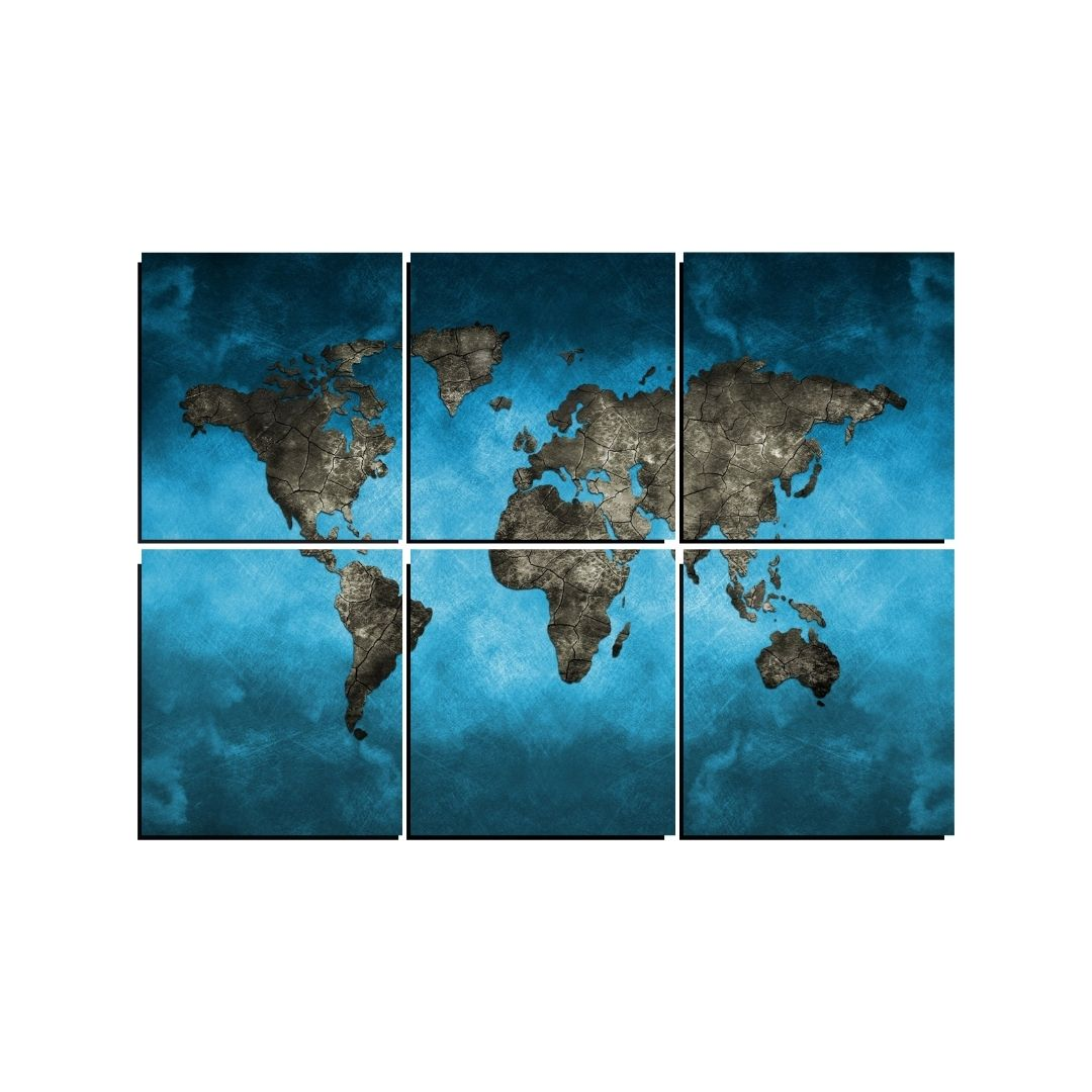 Quadro Decorativo - Mapa Mundi Fundo Azul - 6 Telas - 150x100cm