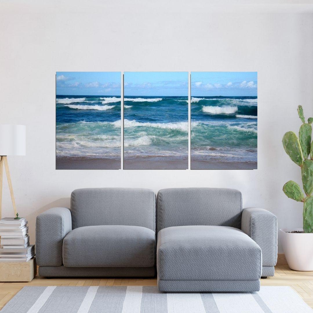 Quadro Decorativo - Mar Azul - Três Telas - 120x60cm