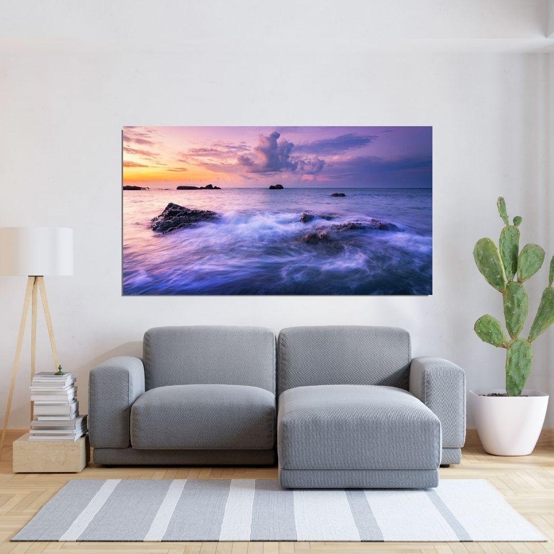 Quadro Decorativo - Mar e Pedras - 110x60cm