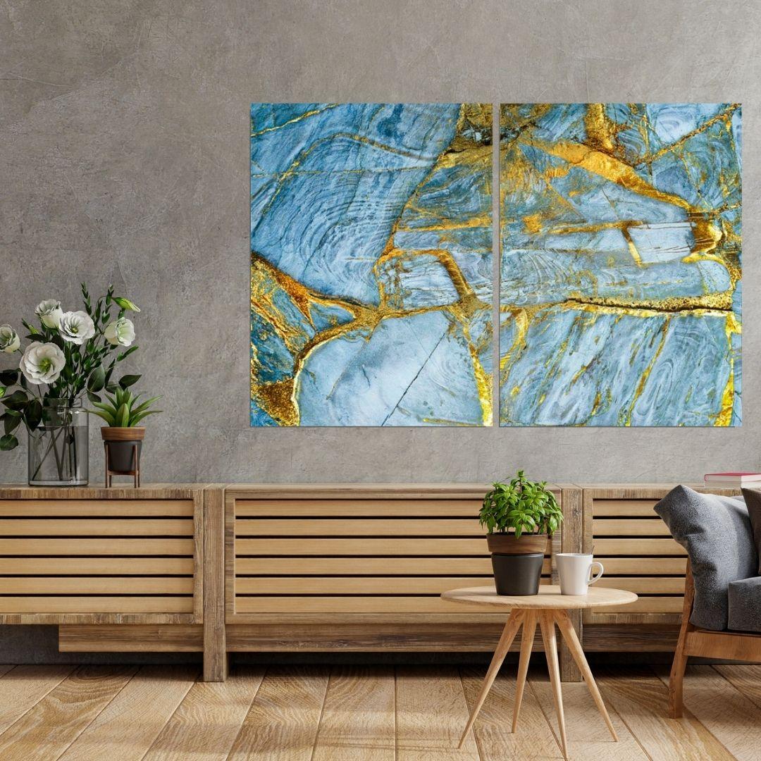 Quadro Decorativo Para Sala - Marmorizado Azul e Dourado - 2 Peças - 120x80cm
