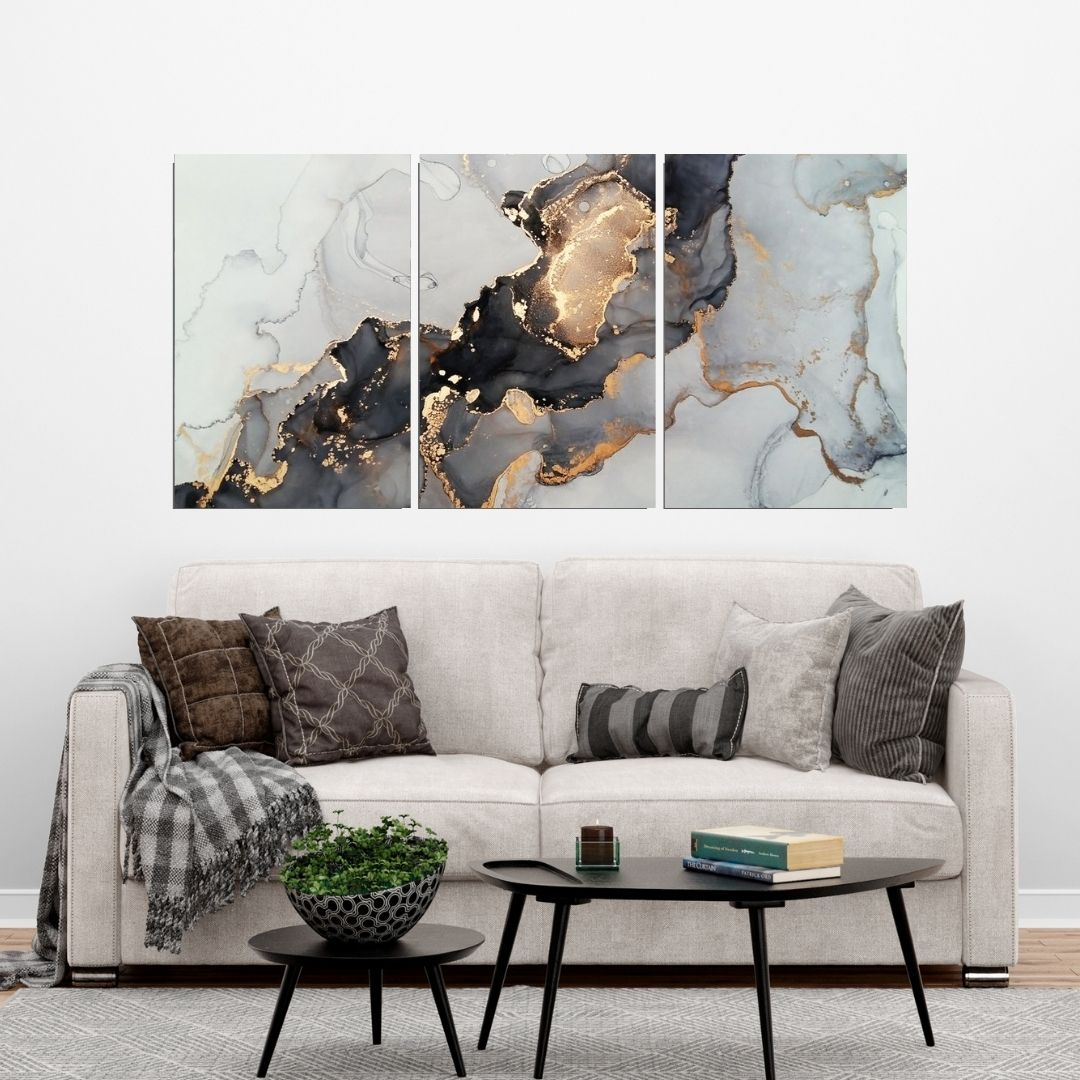 Quadro Decorativo - Marmorizado Cinza e Dourado - Abstrato - 120x60