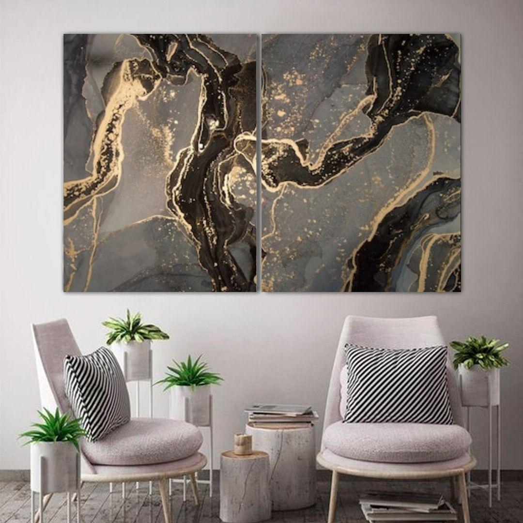 Quadro Decorativo Premuim - Marmorizado Cinza, Preto e Dourado - 2  peças - 120x80cm