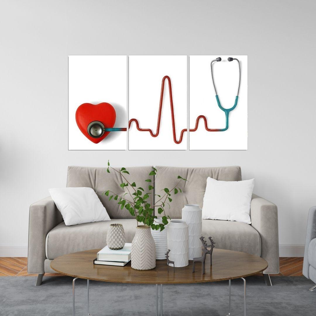 Quadro Decorativo - Medicina - Estetoscópio - 3 Telas - 65x40cm