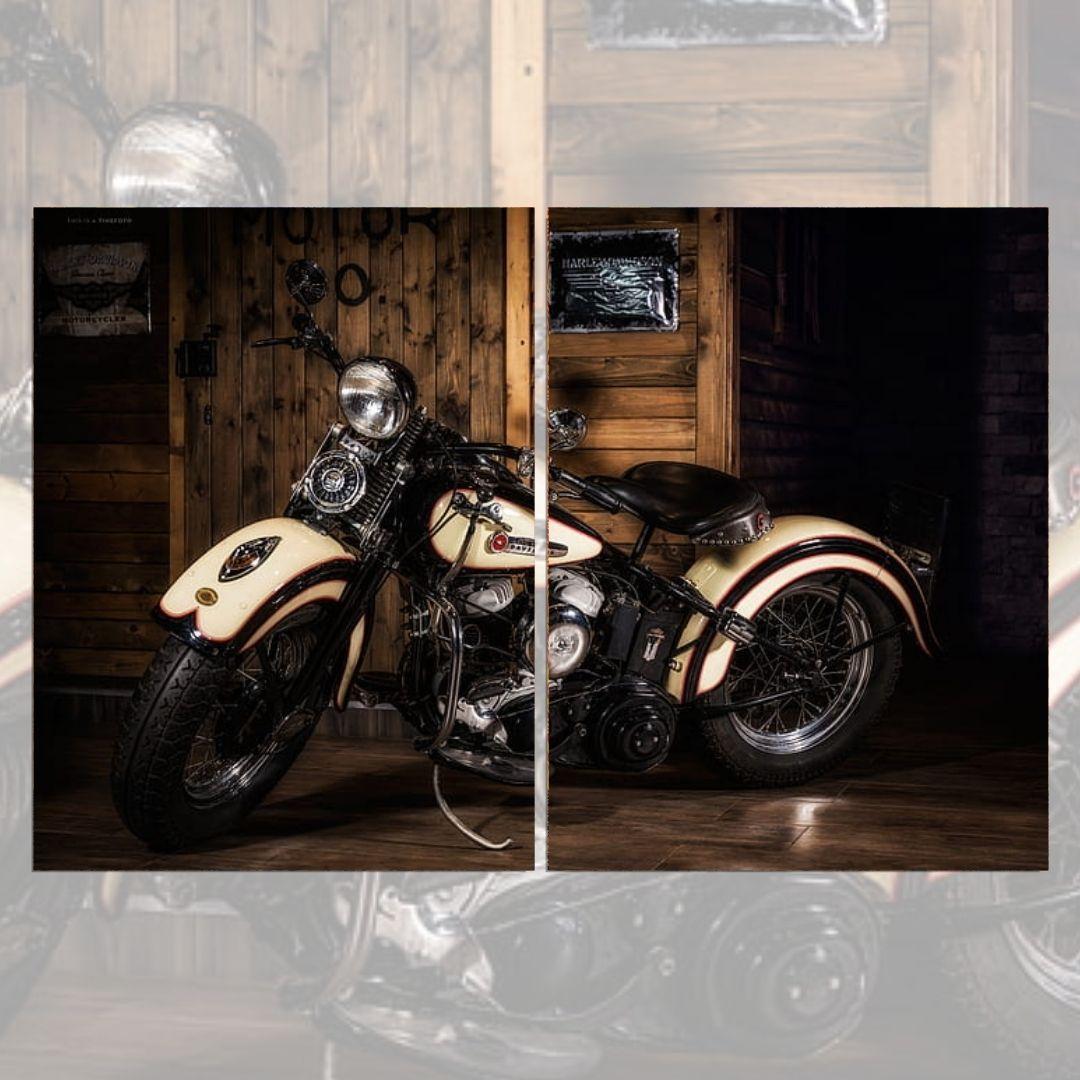 Quadro Decorativo - Moto Chopper - 2 Telas - 120x80cm