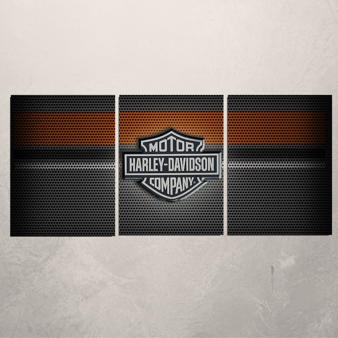 Quadro Decorativo - Moto Harley Davidson - 3 Telas - 120x60cm