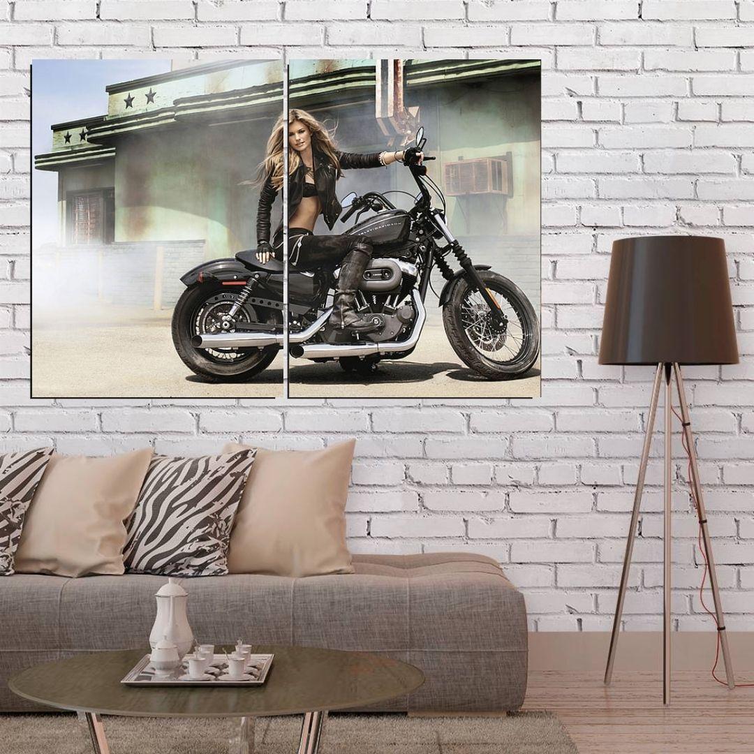 Quadro Decorativo Motocicleta 2 Telas 100x70cm