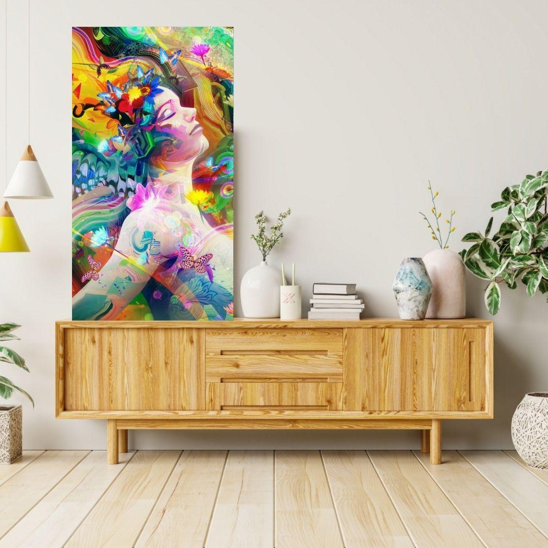 Quadro Decorativo - Mulher Abstrata Colorida - 100x55cm.