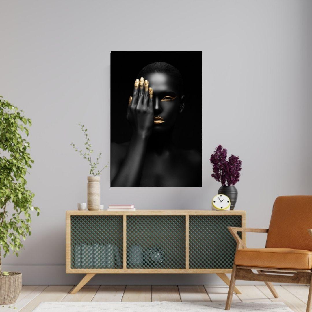 Quadro Decorativo - Negra - Maquiagem Black Gold - 90x60 cm