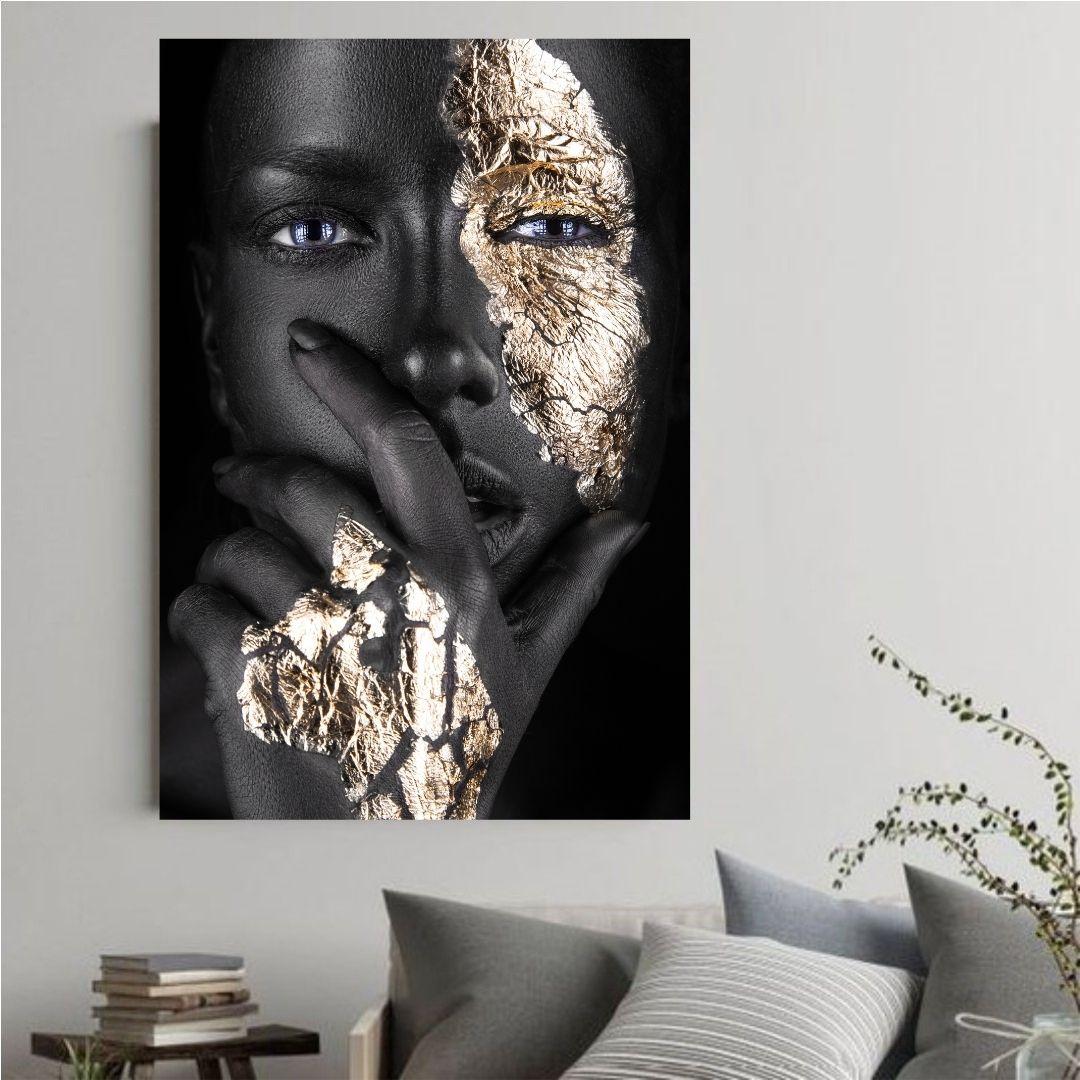 Quadro Decorativo - Mulher Negra com Maquiagem Dourada - 110x70cm