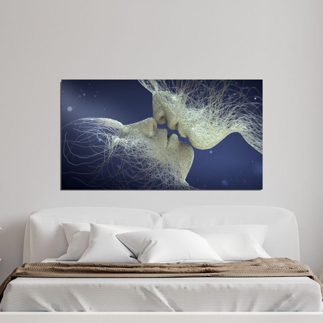Quadro Decorativo - O Beijo Impossível - Abstrato - 110x60cm