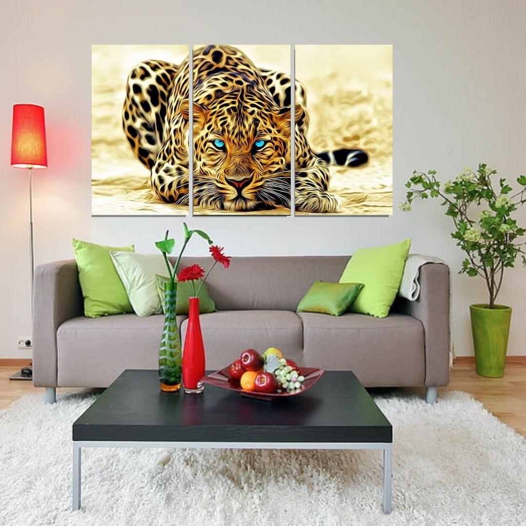Quadro decorativo - Onça Moderna - 3 Telas - 120x70cm