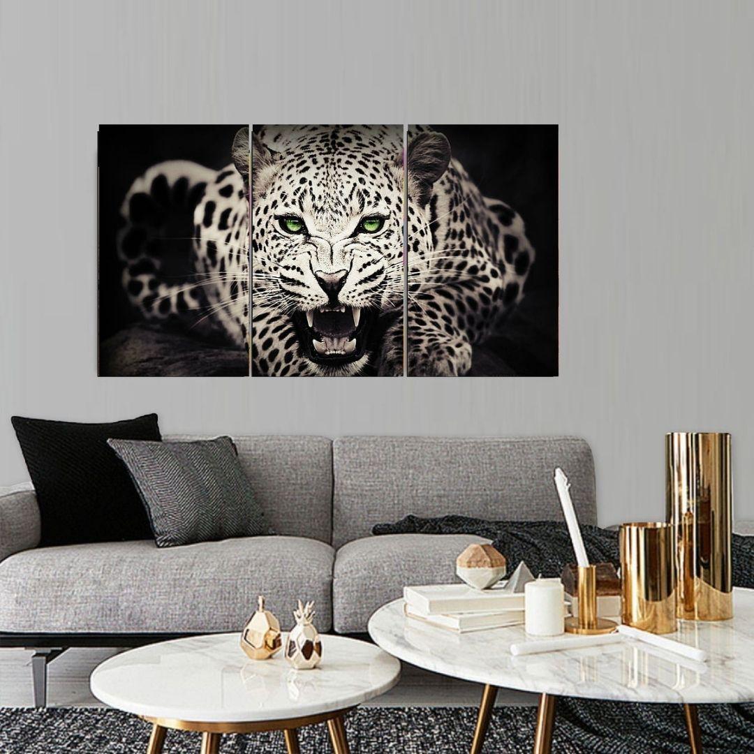 Quadro Decorativo - Onça Preto e Branco - Olhos Verdes - 3 Telas - 120x70cm