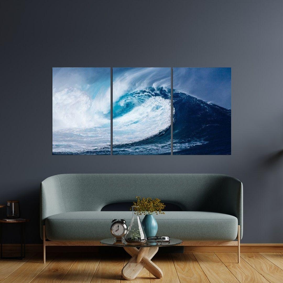 Quadro Decorativo - Ondas do Mar - 3 Telas - 120x60cm