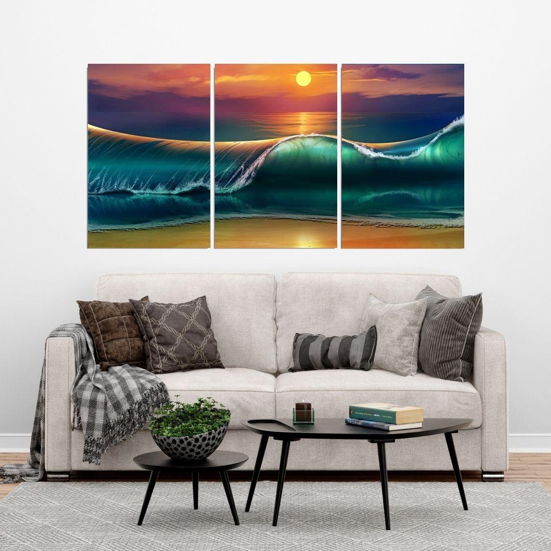 Quadro Decorativo - Ondas do Mar Estilo Pintura - 3 Telas - 120x60cm