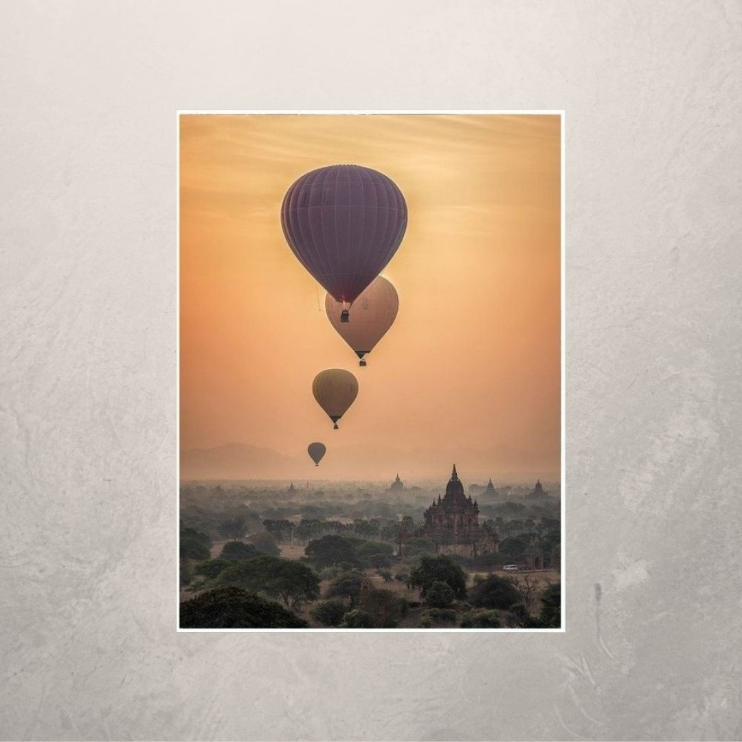 Quadro Decorativo Paisagem com Balões 110x70 cm - Com Moldura