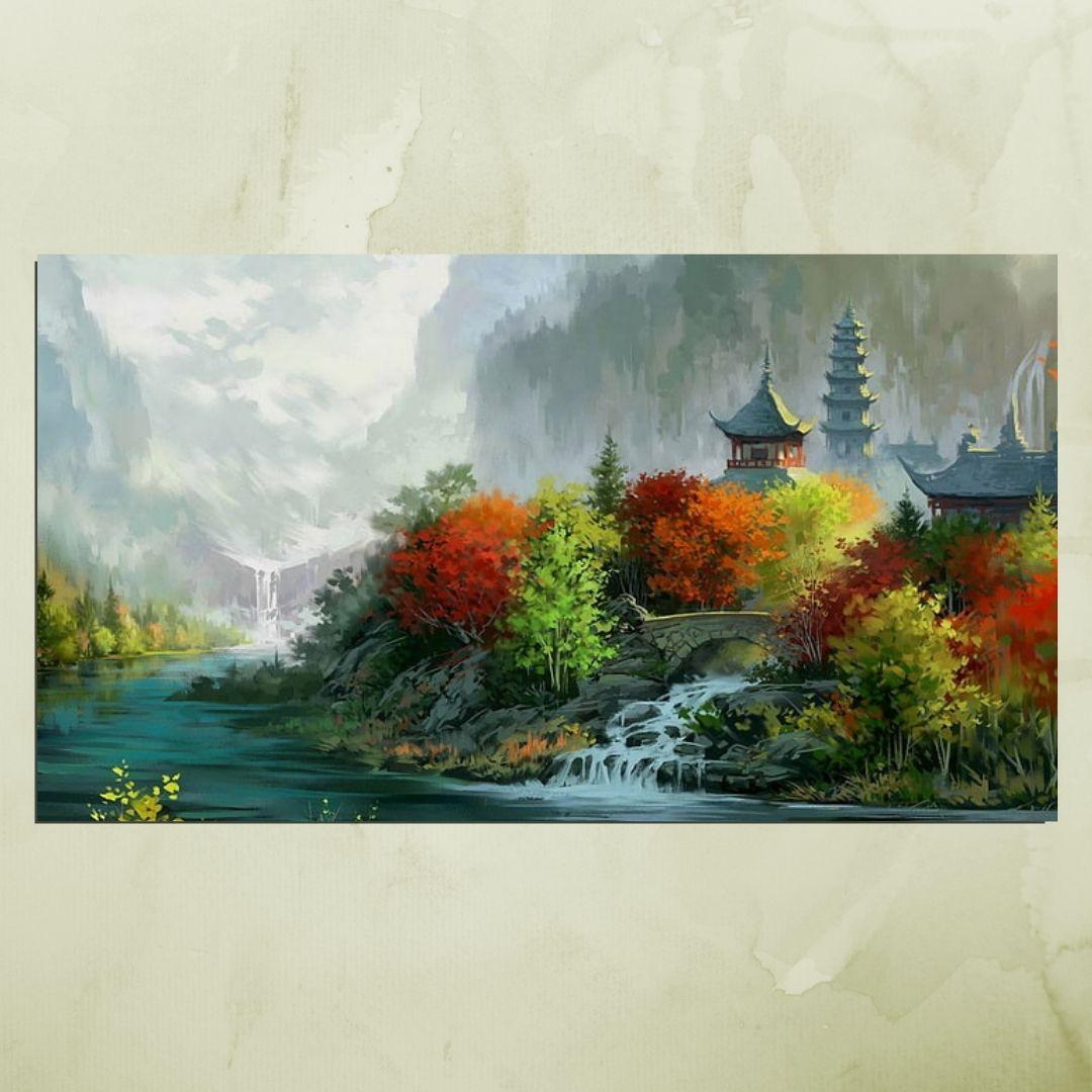Quadro Decorativo - Paisagem - Templo Oriental - 120x65cm
