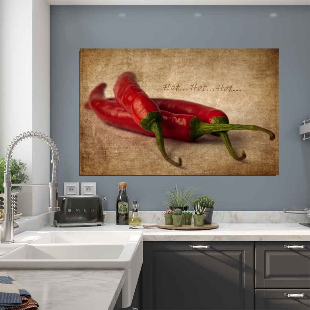 Quadro Decorativo - Cozinha - Pimenta - 110x70cm