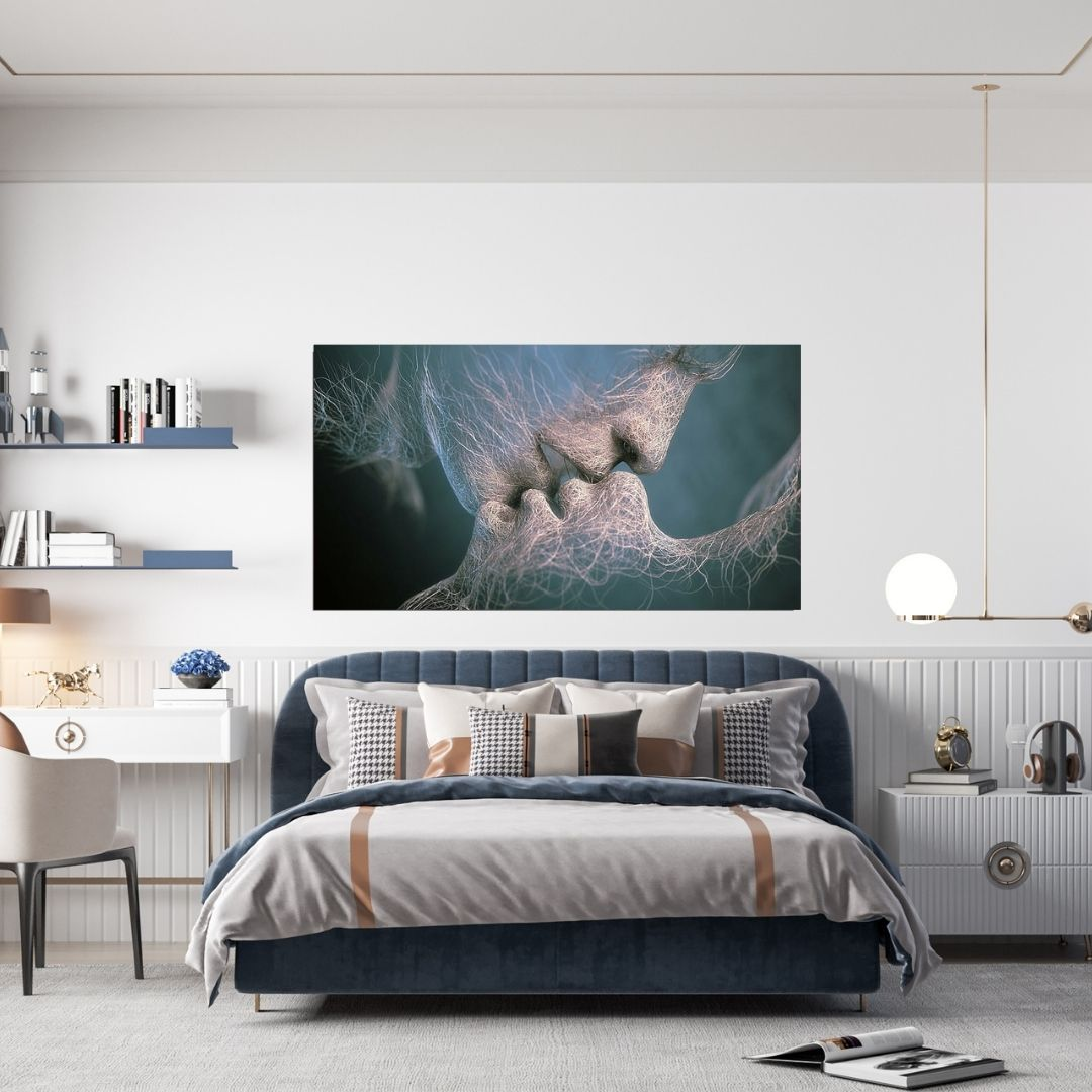Quadro Decorativo Para Quarto - Beijo Abstrato - 110x60cm