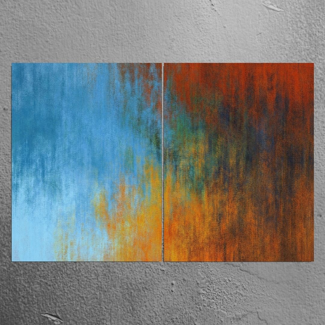 Quadro Decorativo Para Sala - 2 Telas - Abstrato Azul e Dourado - 120x80cm
