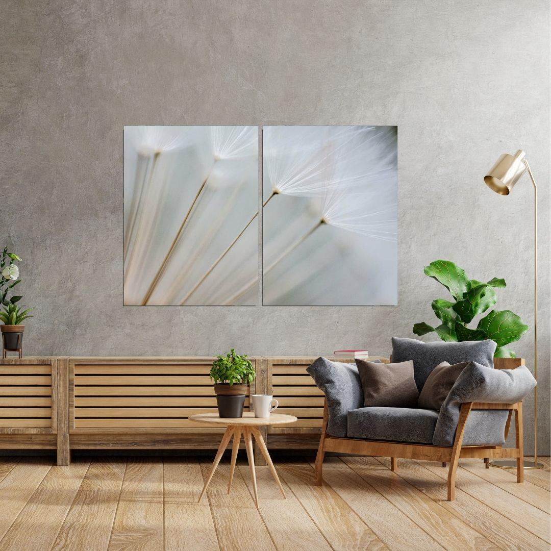 Quadro Decorativo Para Sala - 2 Telas - Dente de Leão - 120x80cm