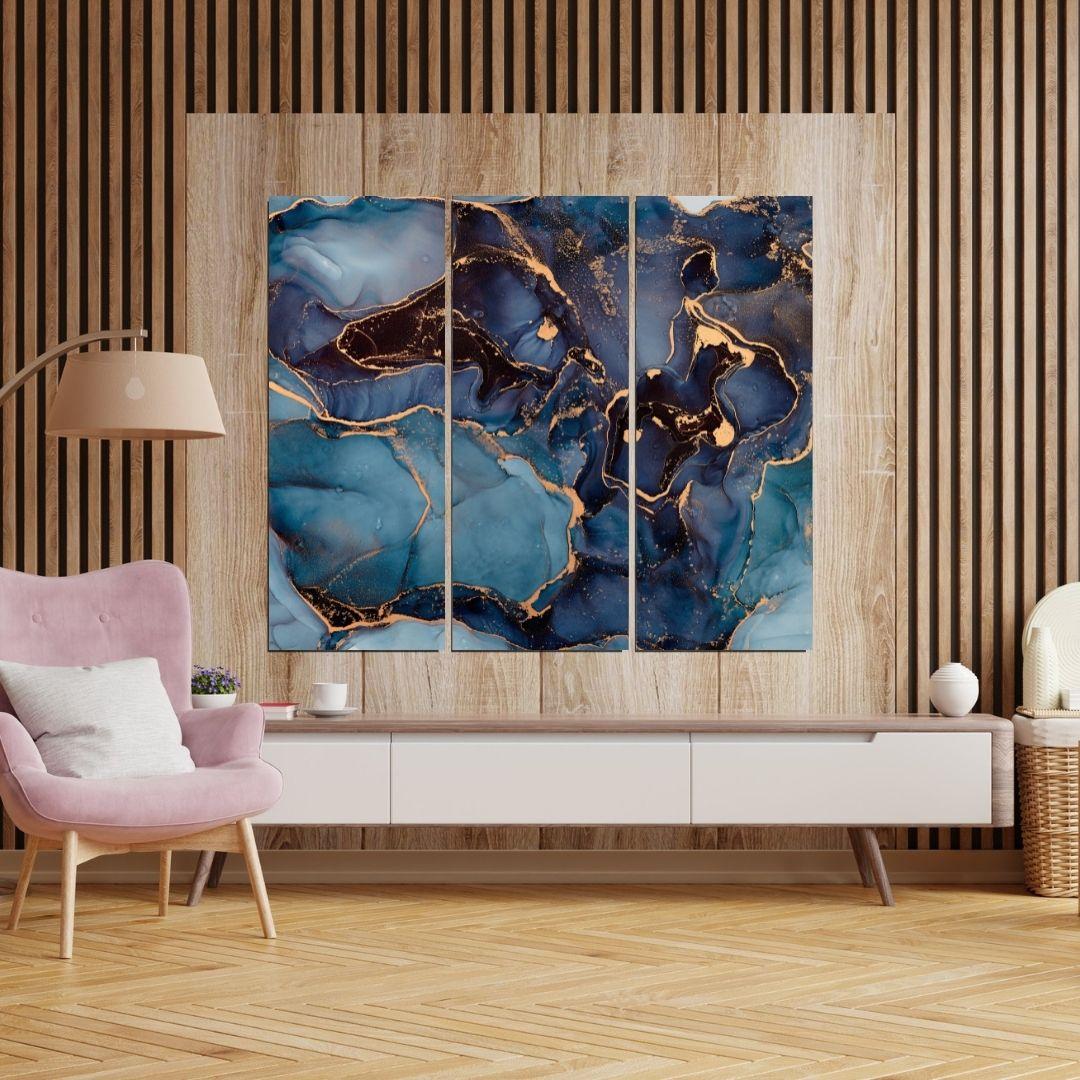 Quadro Decorativo  Para Sala - 3 Telas - Abstrato Marmorizado - 105x90cm