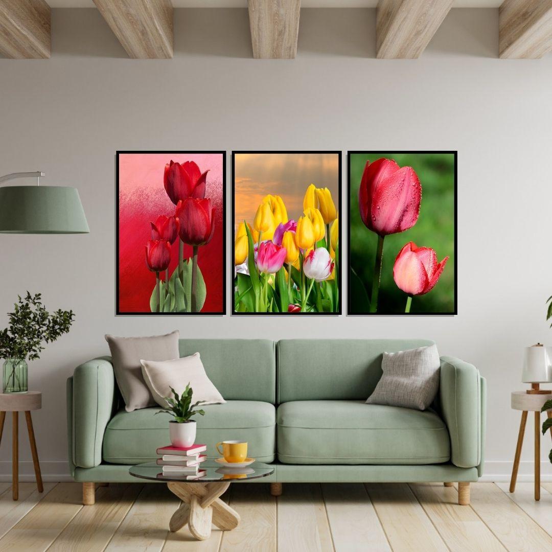 Quadro Decorativo Para Sala - 3 Telas - Tulipas - 60x40cm