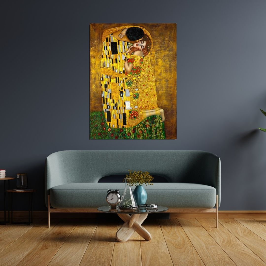 Quadro Decorativo Para Sala - Abstrato - O Beijo -  Gustav Klimt - 100x75cm