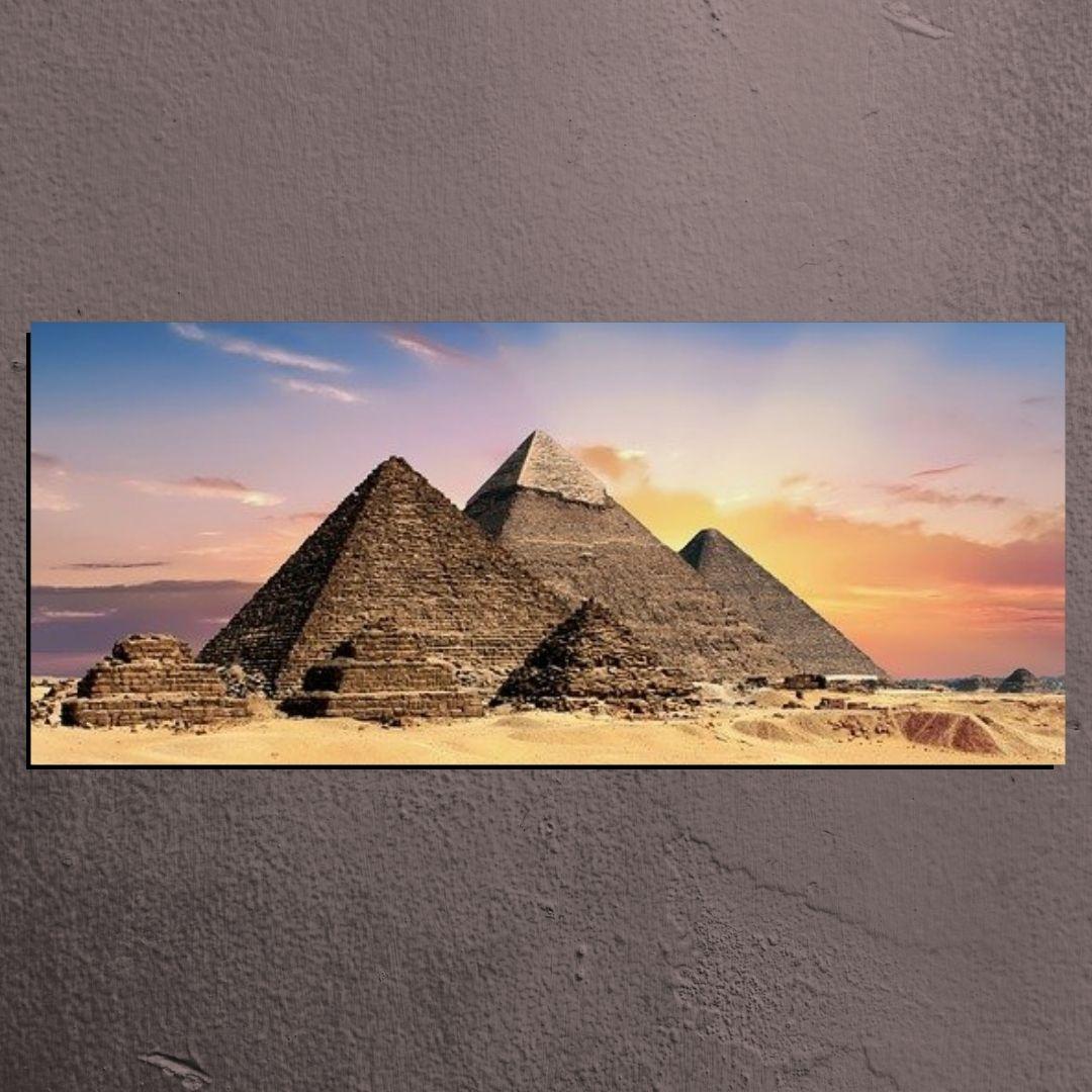 Quadro Decorativo Para Sala - Pirâmides do Egito - 140x60cm