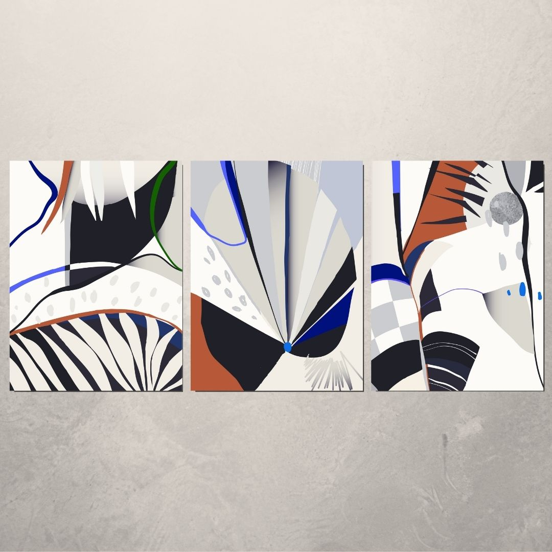 Quadro Decorativo Para Sala 3 Telas - Abstrato Moderno - 60x45cm
