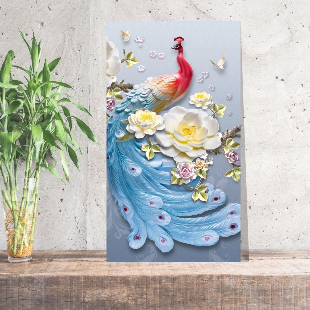 Quadro Decorativo - Pavão - Luxo - Efeito 3D - 90X50
