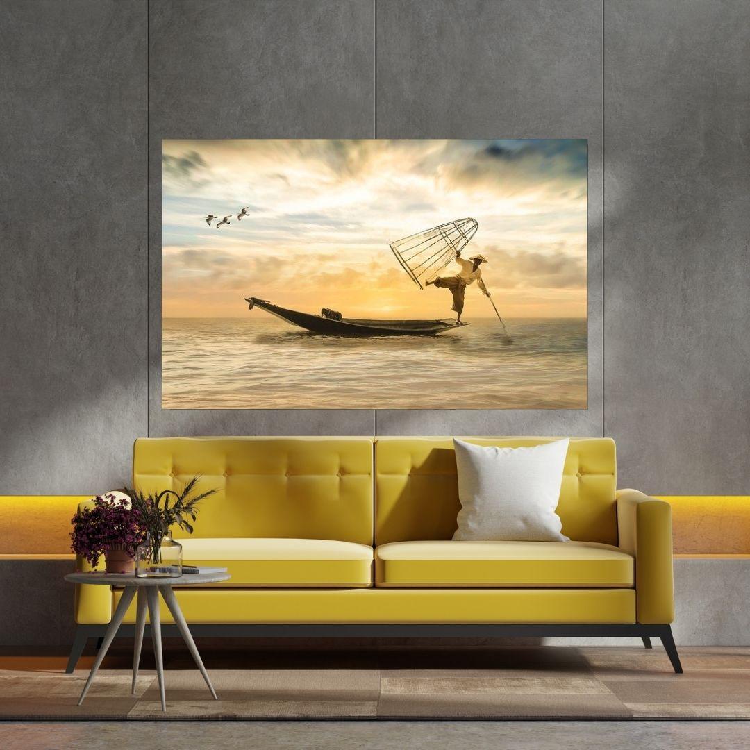 Quadro Decorativo Para Sala - Pescador - 110x70cm