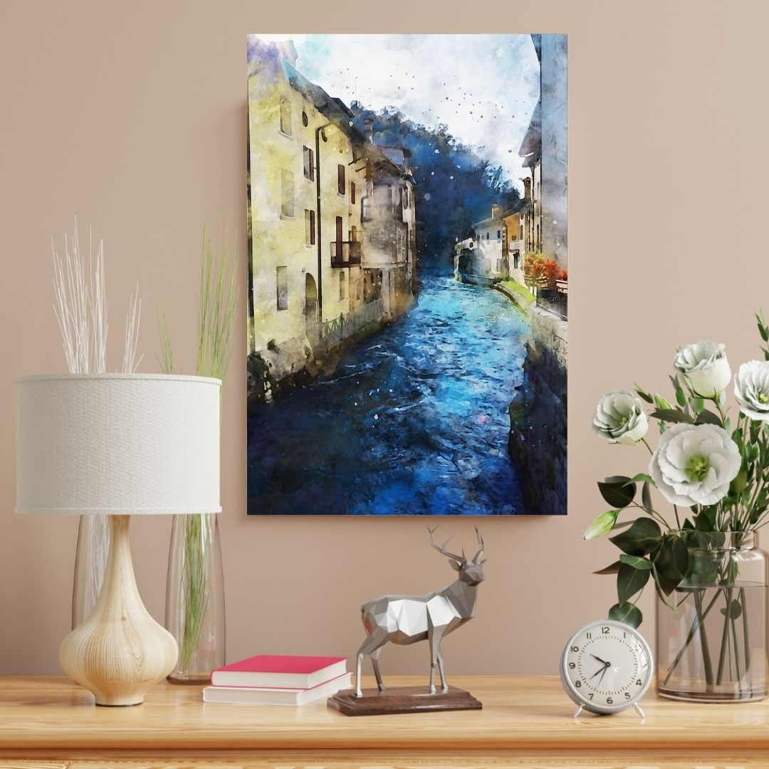Quadro Decorativo - Pintura Canal de Veneza -  90x60cm