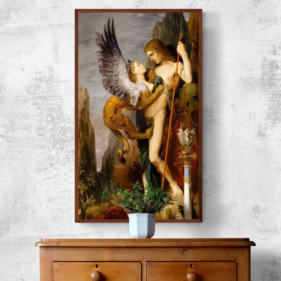 Quadro Decorativo Para Sala -Pintura Clássica - Édipo e a Esfinge  - Gustave Moreau - 90x50cm