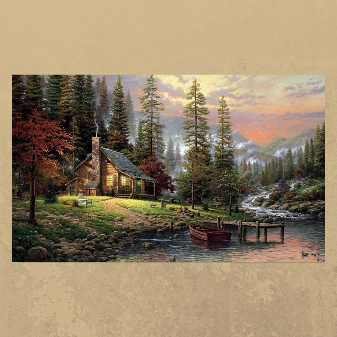 Quadro Decorativo Pintura Paisagem Maravilhosa 100x70cm