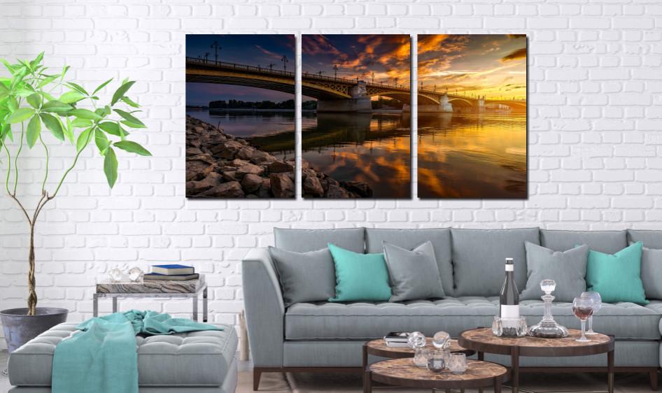 Quadro Decorativo - Ponte com Rio e Pedras - 120x60
