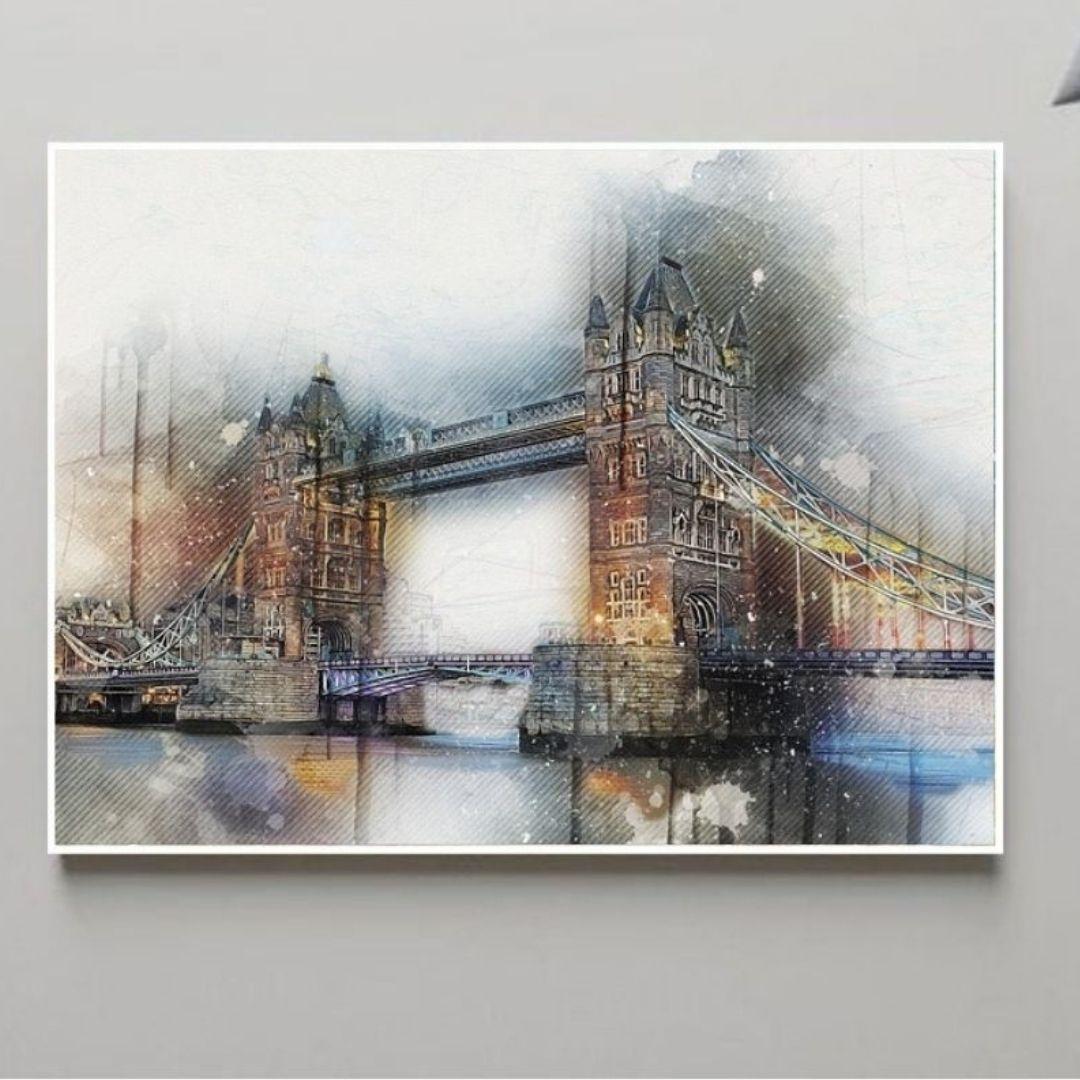 Quadro Decorativo - Ponte de Londres - Estilo Gravura - Com Moldura Canaleta -100x70cm