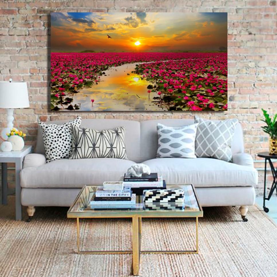 Quadro Para Sala - Por do Sol e Flores de Lótus - 110x70cm