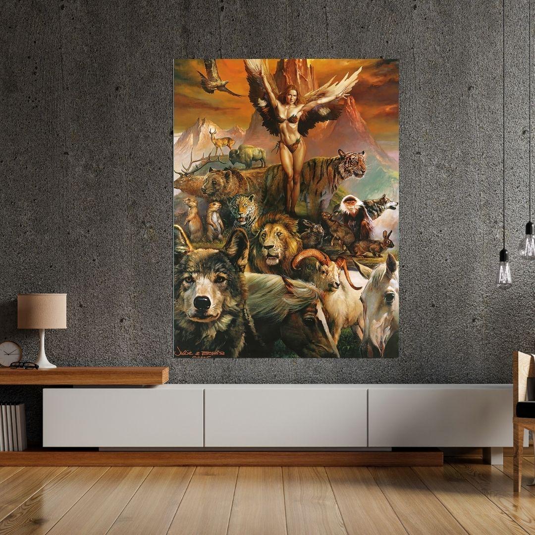Quadro Decorativo - Rainha dos Animais - 110x70cm