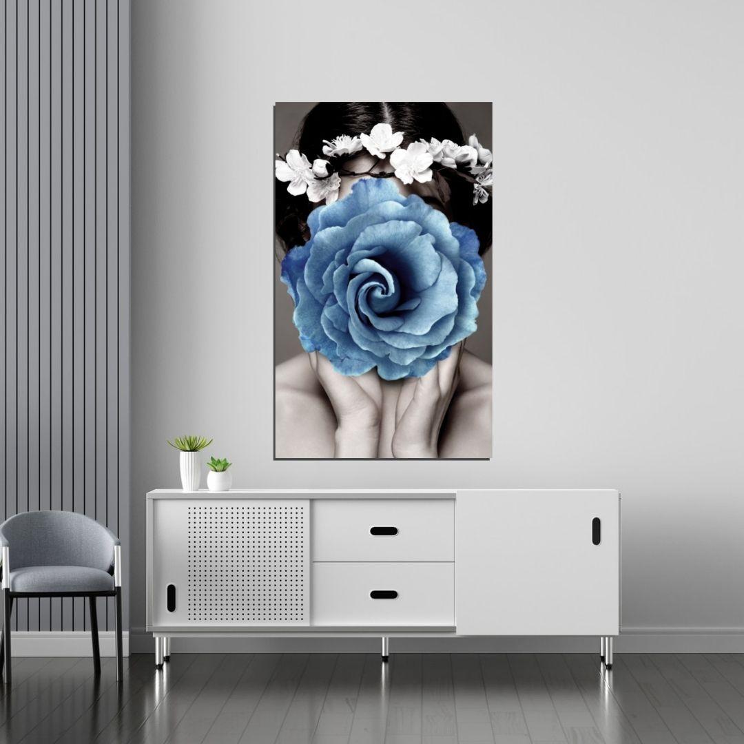 Quadro Decorativo - Rosto com Rosa Azul - 90x50cm