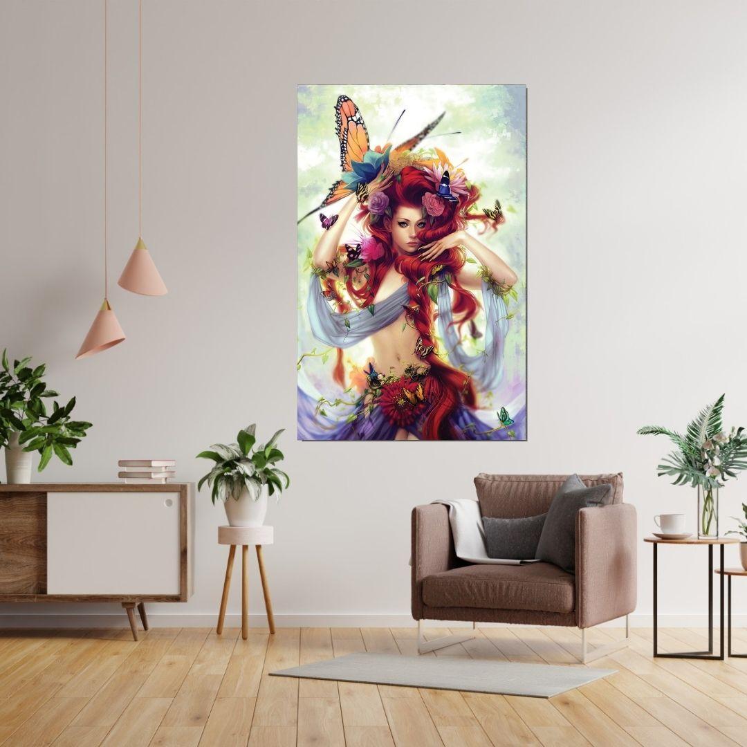 Quadro Decorativo - Ruiva e as Borboletas - 110x70cm